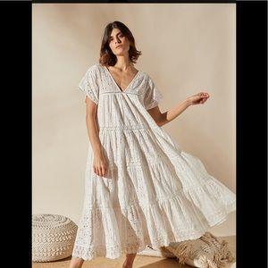 Louizon France boutique midi dress lace eyelet